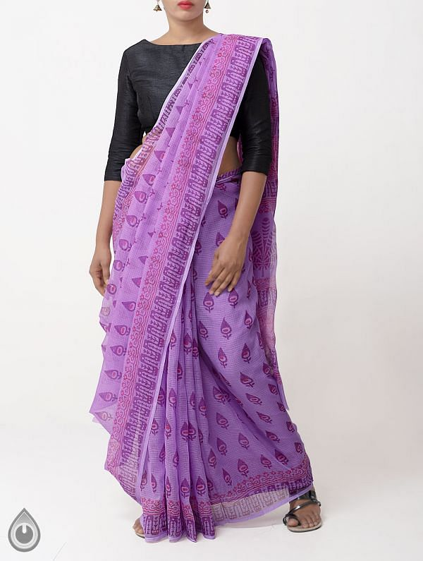 Online Shopping for Purple Hand Block Printed Pure Kota Cotton Saree with Hand Block Prints from Rajasthan at Unnatisilks.com India