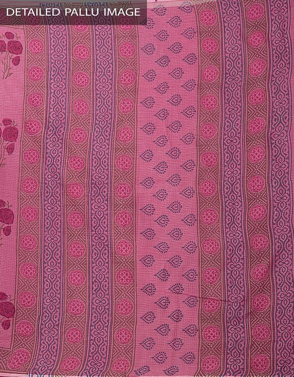 Online Shopping for Peach Pink Hand Block Printed Pure Kota Cotton Saree with Hand Block Prints from Rajasthan at Unnatisilks.com India