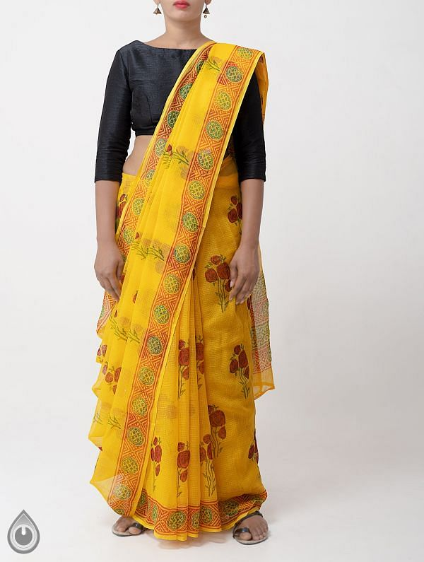 Online Shopping for Yellow Pure Kota Cotton Saree with Hand Block prints from Rajasthan at Unnatisilks.comIndia