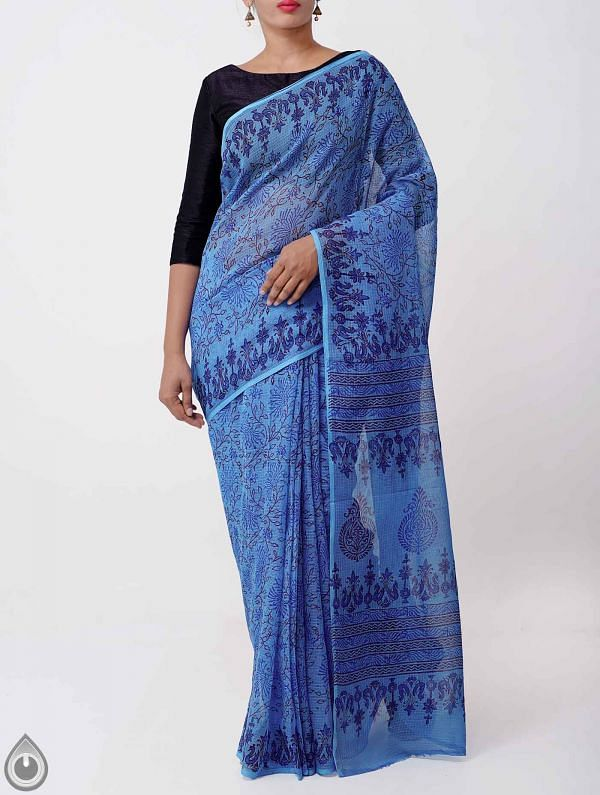 Online Shopping for Blue Hand Block Printed Pure Kota Cotton Saree with Hand Block Prints from Rajasthan at Unnatisilks.com India