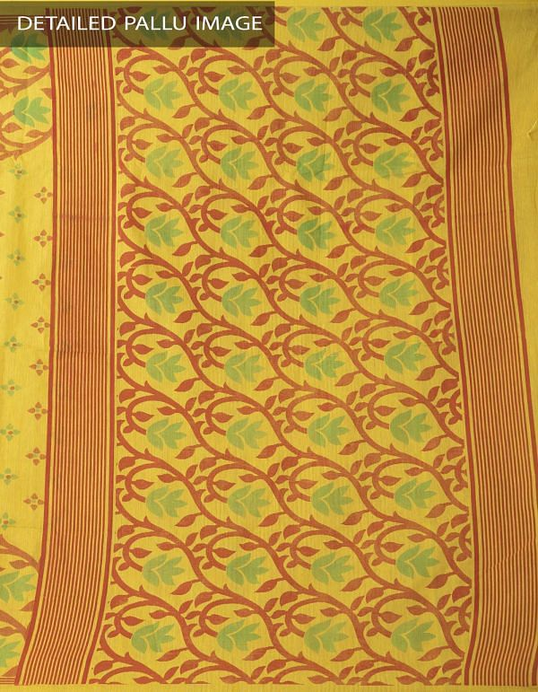 Online Shopping for Yellow Pure Handloom Bengal Sico Saree with Tassels with Block Prints from West Bengal at Unnatisilks.comIndia