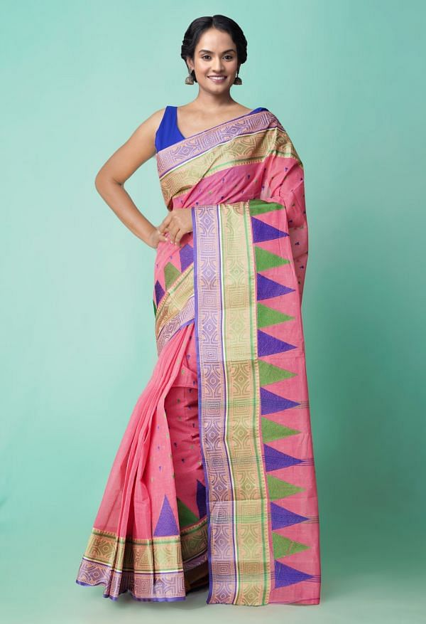 Online Shopping for Pink Pure Handloom Bengal Cotton Tant Saree with Weaving from West Bengal at Unnatisilks.comIndia
