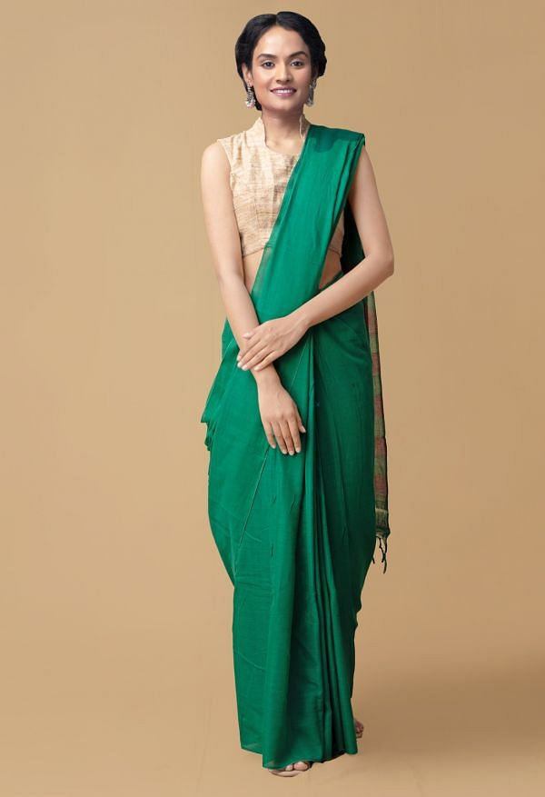 Online Shopping for Green Pure Handloom Narayanpet Cotton Plain Saree with Weaving from Andhra Pradesh at Unnatisilks.comIndia