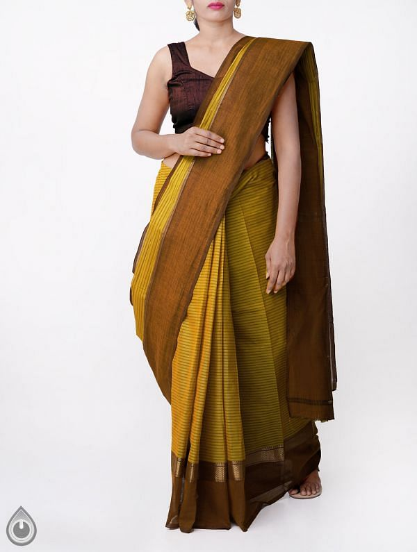 Online Shopping for Yellow Pure Handloom Chettinad Gamcha Cotton Saree with Weaving from Tamilnadu at Unnatisilks.comIndia