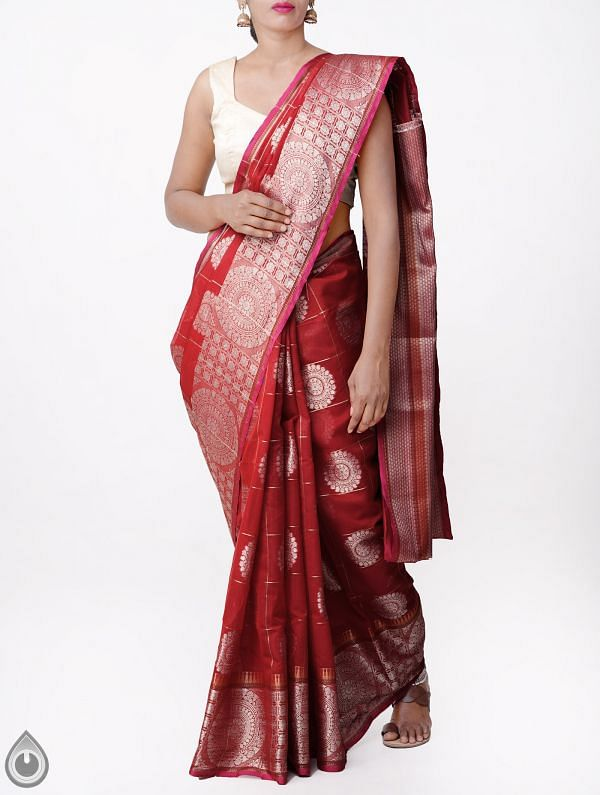 Red Banarasi Sico Checks Saree with Jamdhani Brocade Weaving