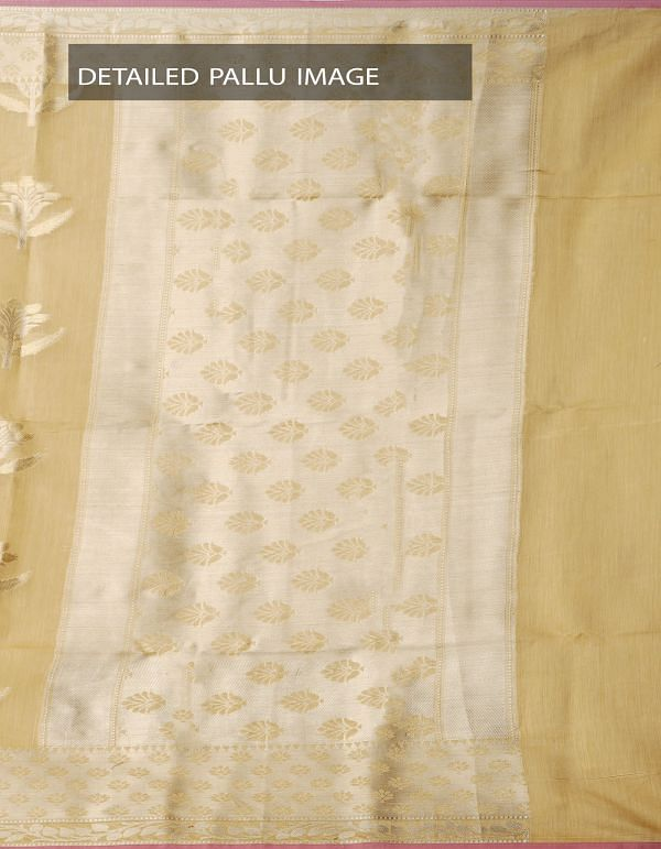 Cream Banarasi Sico Saree with BrocadeWeaving-UNMP32609