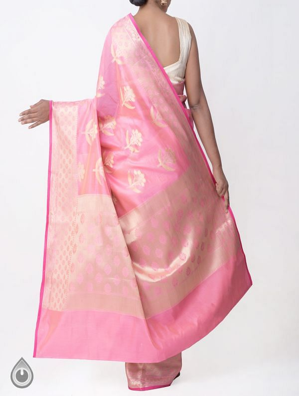 Pink Banarasi Sico Saree with BrocadeWeaving-UNMP32613