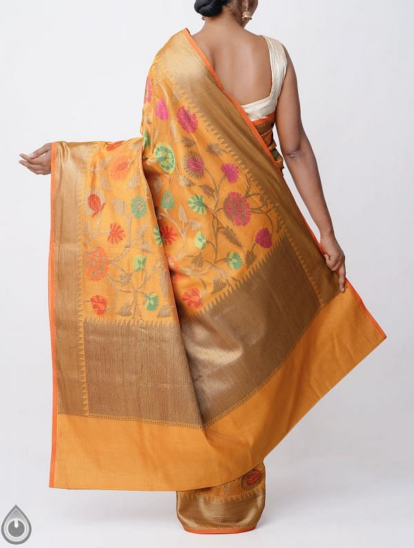 Orange Banarasi Sico Saree with Jamdhani Weaving-UNMP32615