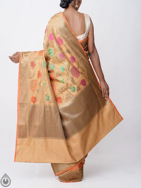 Brown Banarasi Sico Saree with Jamdhani Weaving-UNMP32616