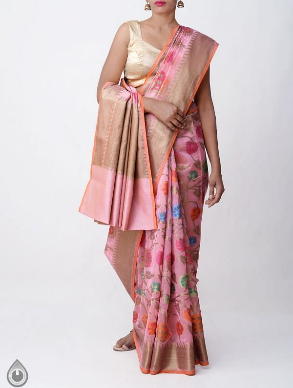 Pink Banarasi Sico Saree with Jamdhani Weaving-UNMP32617