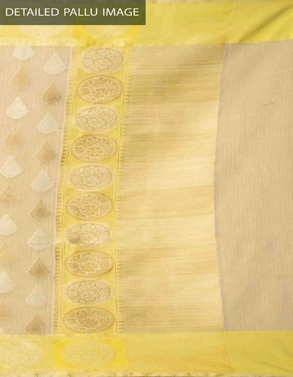 Brown Banarasi Organza Saree with Tassels-UNM32619