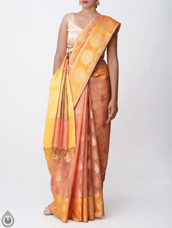 Online Shopping for Peach Orange Banarasi Organza Saree with Tassels with Weaving from Uttar Pradesh at Unnatisilks.comIndia