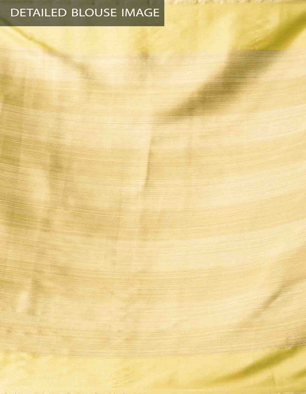 Yellow Banarasi Organza Saree with Tassels-UNMP32622