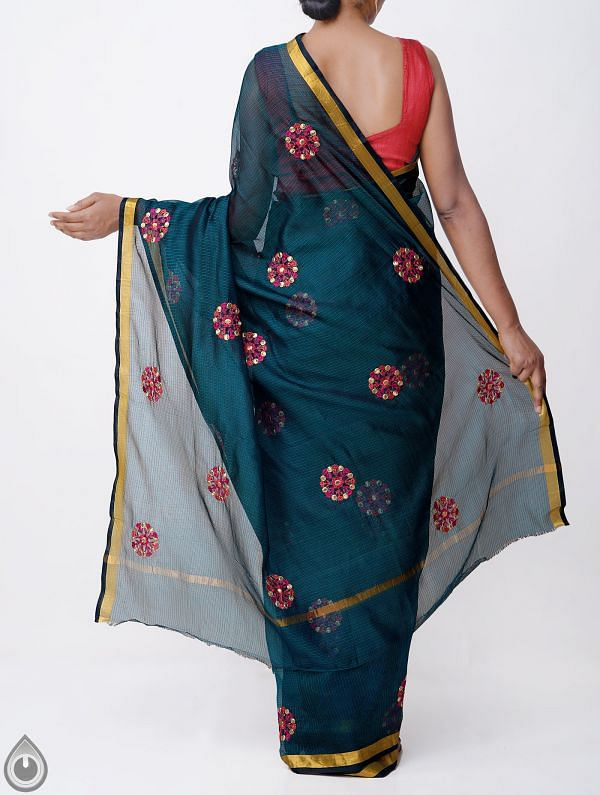 Online Shopping for Blue Kota Silk Saree with Embroidery Motifs with Embroidery Work from Rajasthan at Unnatisilks.comIndia