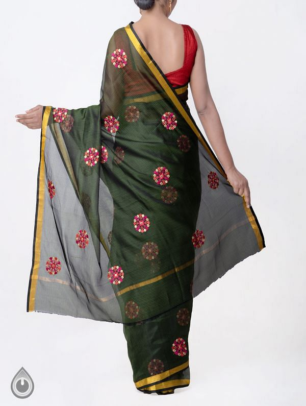 Green Kota Silk Saree with Embroidery Motifs-UNMP32624