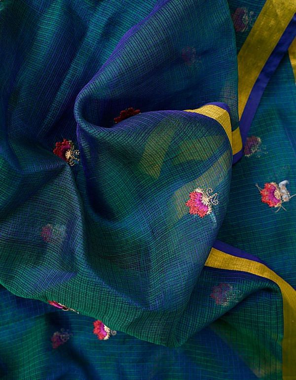 Green and Blue Kota Silk Saree with Embroidery Motifs-UNMP32630