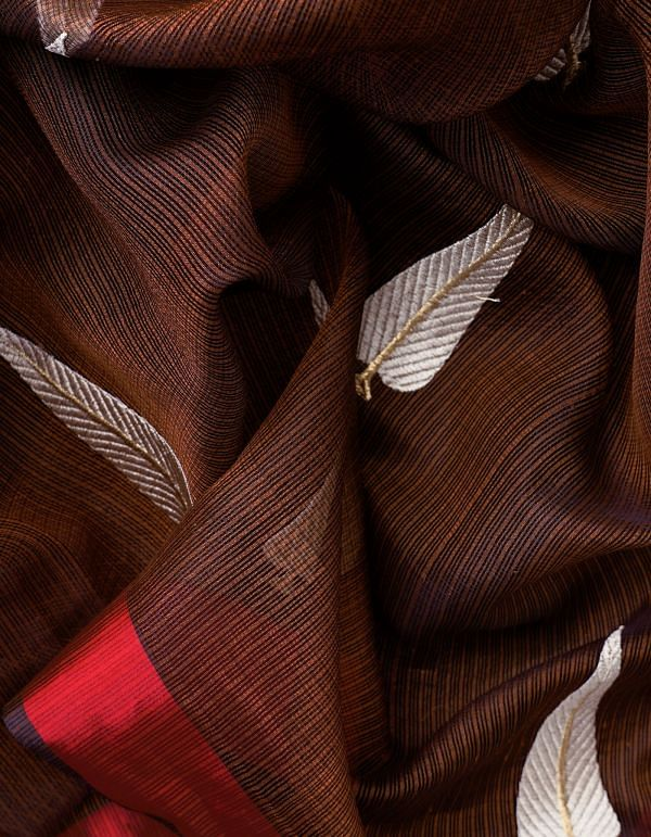 Brown Kota Silk Saree with Embroidery Motifs-UNMP32631