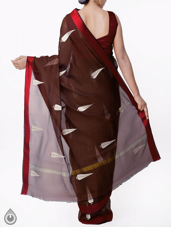 Brown Kota Silk Saree with Embroidery Motifs-UNMP32633