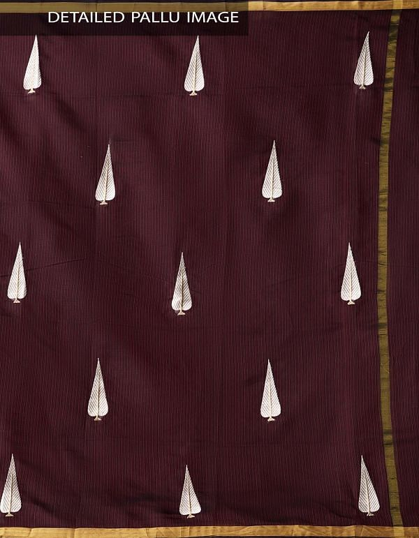 Maroon Kota Silk Saree with Embroidery Motifs-UNMP32634