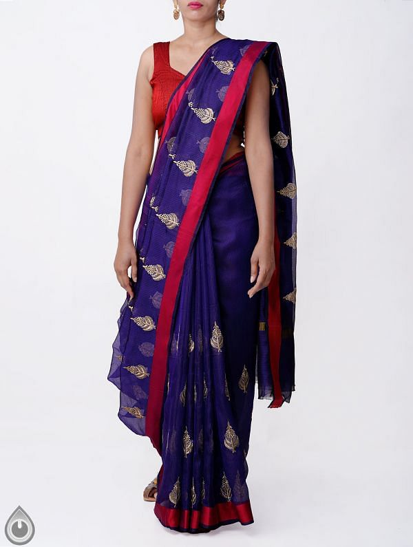 Blue Kota Silk Saree with Embroidery Motifs-UNMP32636