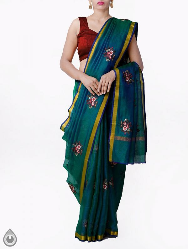 Online Shopping for Blue-Green Kota Silk Saree with Embroidery Motifs with Embroidery Work from Rajasthan at Unnatisilks.comIndia