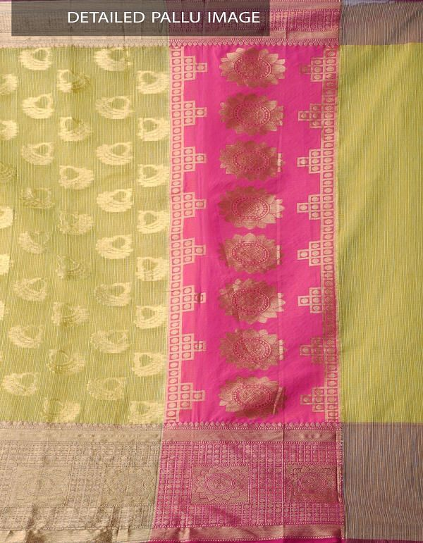 Online Shopping for Yellow Banarasi Kota saree with Motifs with Weaving from Rajasthan at Unnatisilks.comIndia