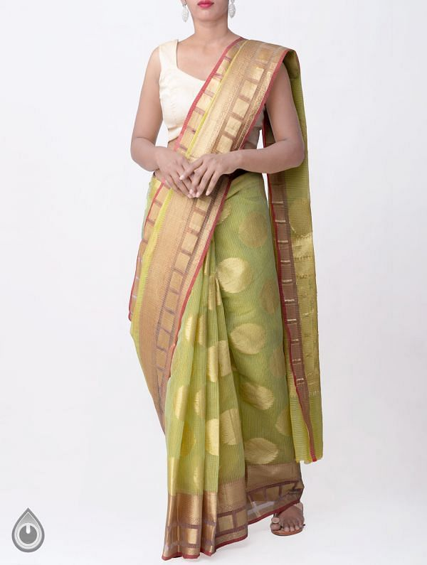Online Shopping for Green Banarasi Kota saree with Motifs with Weaving from Rajasthan at Unnatisilks.comIndia