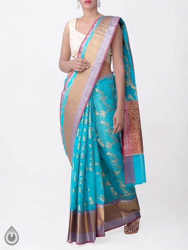 Online Shopping for Blue Banarasi KotaSaree with Weaving from Rajasthan at Unnatisilks.comIndia