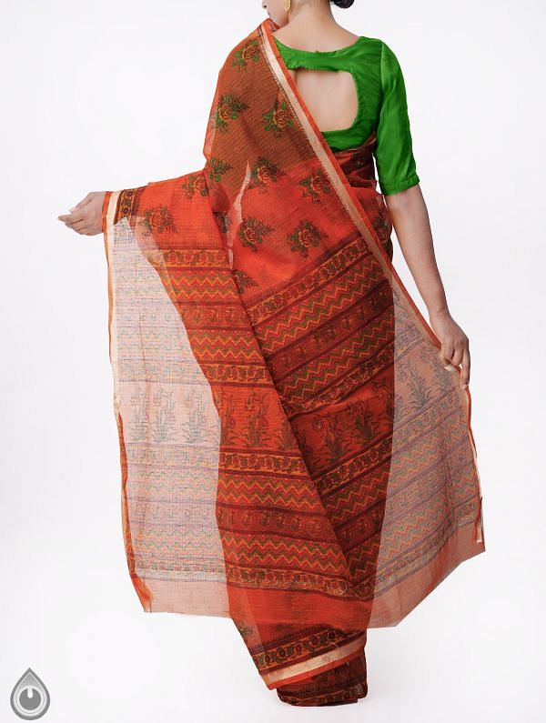 Orange Kota Cotton Saree with Hand Block Prints-UNMP32661