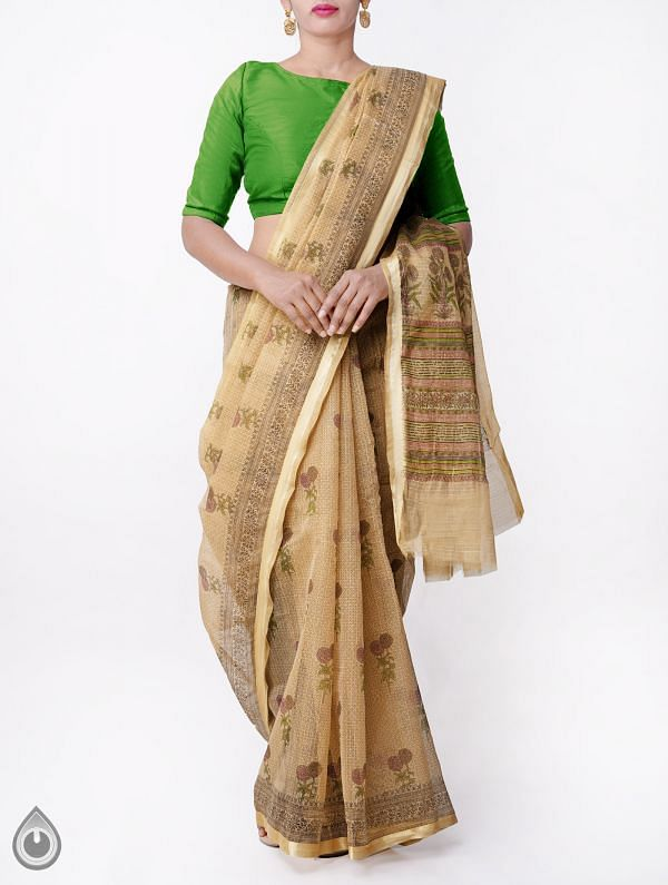 Brown Kota Cotton Saree with Hand Block Prints-UNMP32663