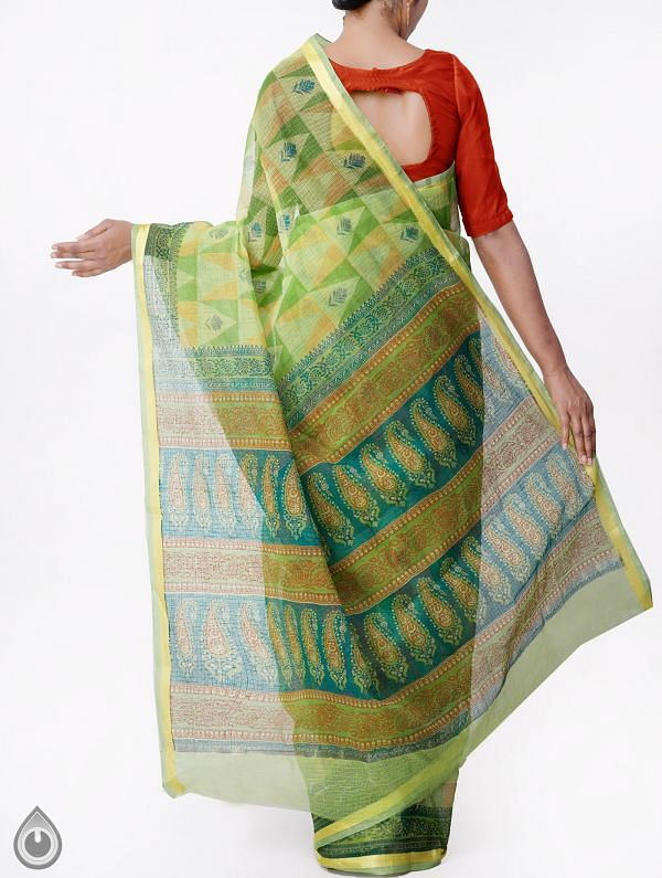 Green Kota Cotton Saree with Hand Block Prints-UNMP32664