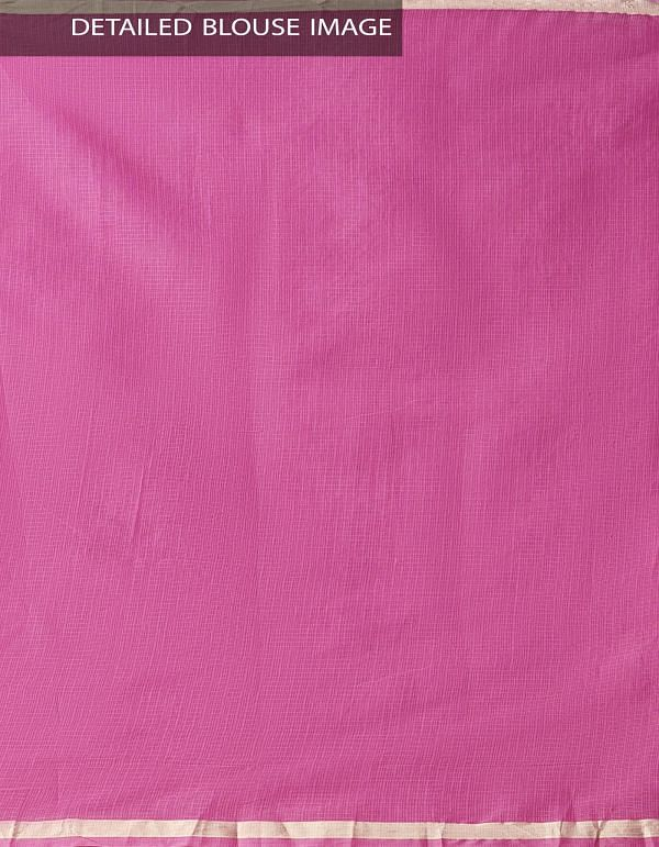 Pink Kota Cotton Saree with Hand Block Prints-UNMP32668