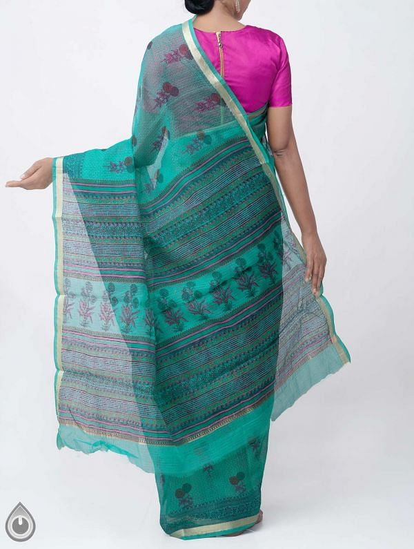 Green Kota Cotton Saree with Hand Block Prints-UNM32669
