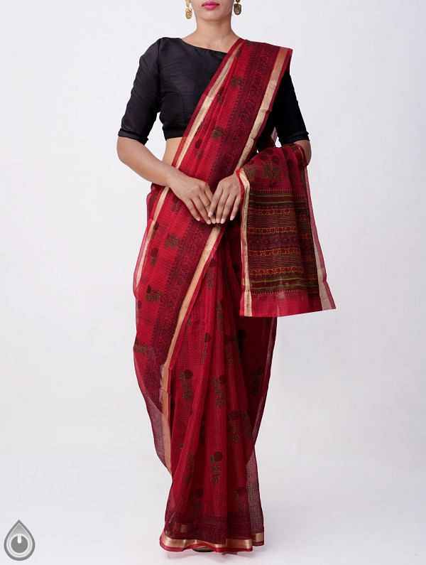 Red Kota Cotton Saree with Hand Block Prints-UNMP32671