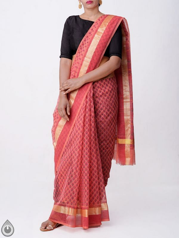 Pink Kota Cotton Saree With Hand Block Prints-UNMP32686