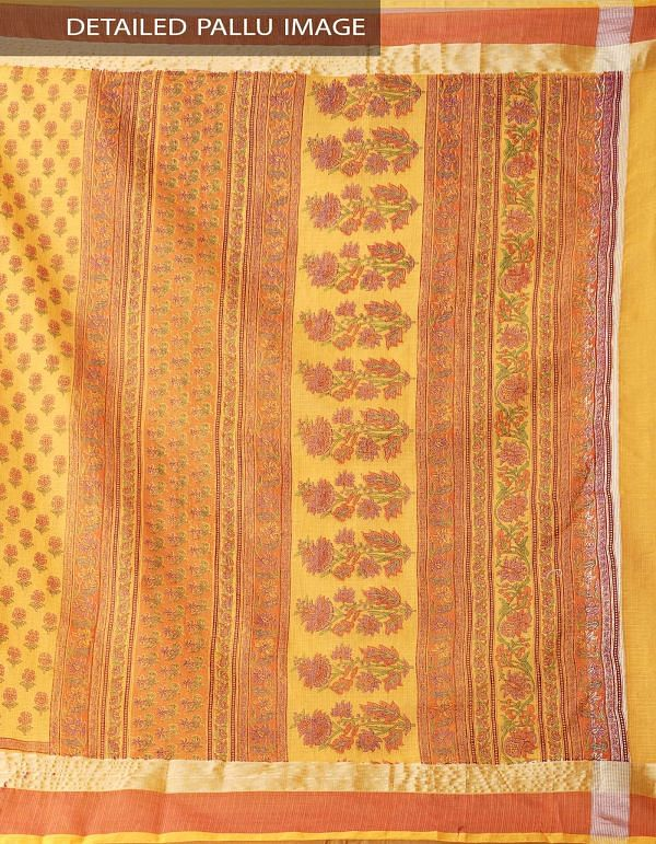 Online Shopping for Orange Kota Cotton Saree with Hand Block Prints from Rajasthan at Unnatisilks.comIndia