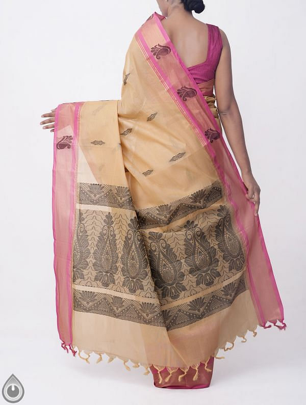 Brown Pure Handloom Uppada Cotton Saree with Tassels-UNMP32711