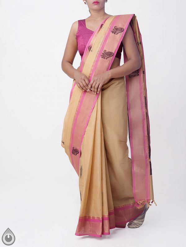 Online Shopping for Brown Pure Handloom Uppada Cotton Saree with Weaving from Andhra Pradesh at Unnatisilks.comIndia