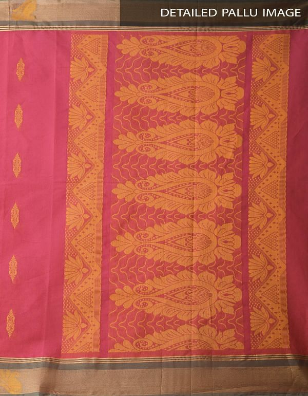 Pink Pure Handloom Uppada Cotton Saree with Tassels-UNMP32715