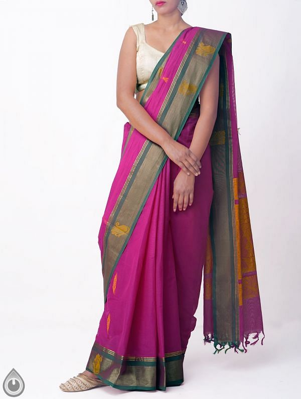 Online Shopping for Purple Pure Handloom Uppada Cotton Saree with Weaving from Andhra Pradesh at Unnatisilks.comIndia