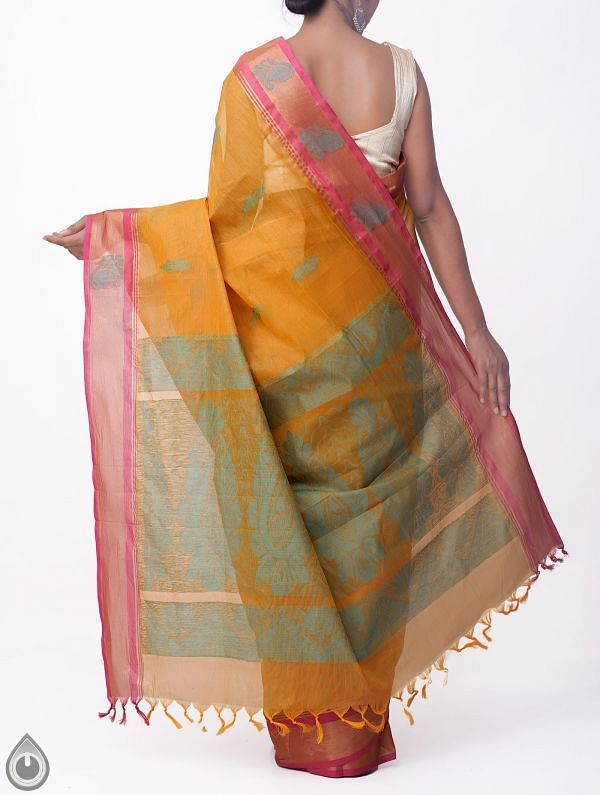 Brown Pure Handloom Uppada Cotton Saree with Tassels-UNMP32719