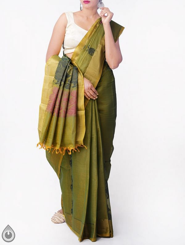 Online Shopping for Green Pure Handloom Uppada Cotton Saree with  Weaving from Andhra Pradesh at Unnatisilks.comIndia
