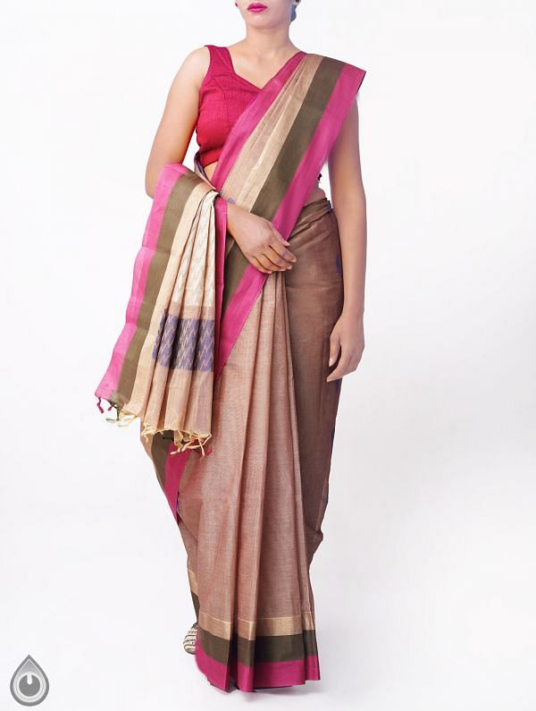 Brown Pure Handloom Uppada Cotton Saree with Tassels-UNMP32725