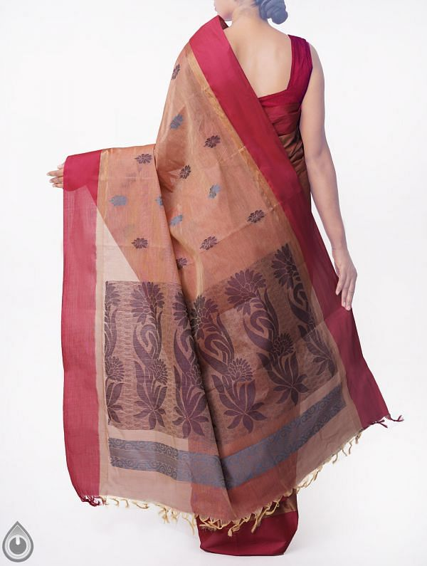 Brown-Pink Pure Handloom Uppada Cotton Saree with Tassels-UNMP32727