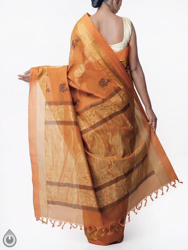 Orange Pure Handloom Uppada Cotton Saree with Tassels-UNMP32732