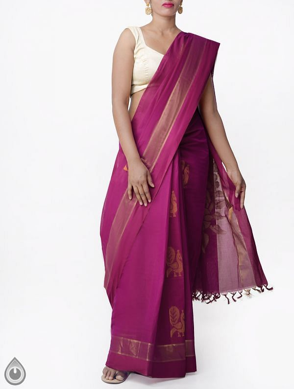 Pink Pure Handloom Uppada Cotton Saree with Tassels-UNMP32733