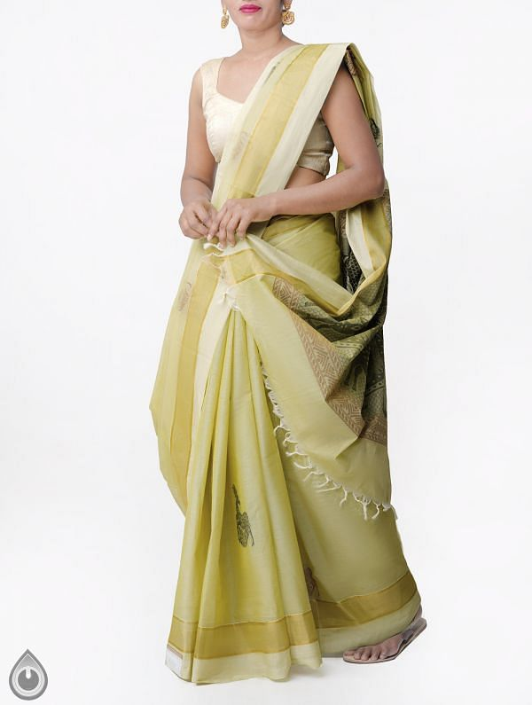 Online Shopping for Green Pure Handloom Uppada Cotton Saree with Tassels with Weaving from Andhra Pradesh at Unnatisilks.comIndia