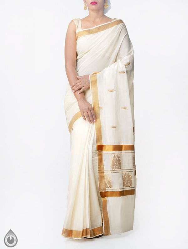 Online Shopping for Off White Pure Kerala Kasavu Cotton Saree with Weaving from Kerala at Unnatisilks.comIndia