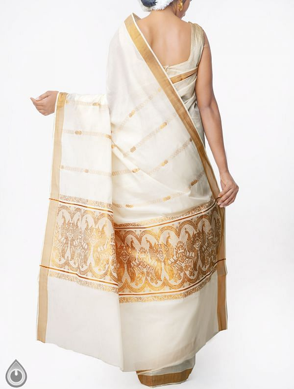 Off White Pure Kerala Kasavu Cotton Saree-UNMP32740