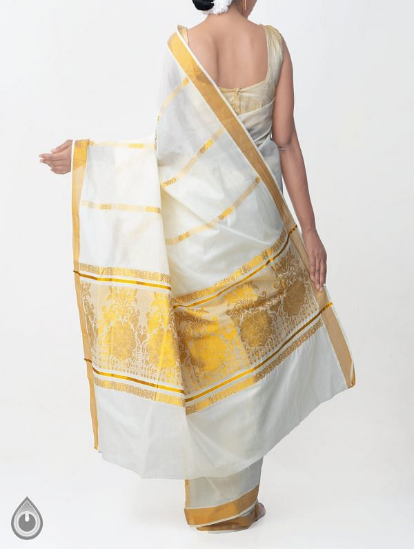 Off White Pure Kerala Kasavu Cotton Saree-UNMP32743